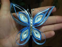 Бабочки из узких атласных лент